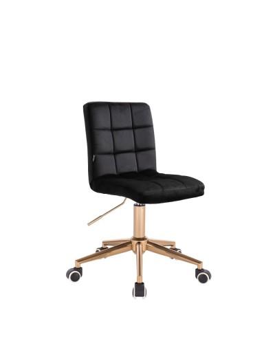 Czarne krzesło skandynawskie CAMELIA - złote kółka
