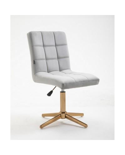 Krzesło do toaletki CAMELIA szare (stalowy welur) - złoty krzyżak