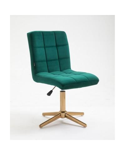 Krzesło do toaletki CAMELIA butelkowa zieleń - złoty krzyżak