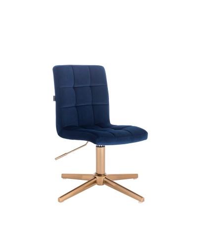 Krzesło do toaletki CAMELIA ciemne morze - złoty krzyżak