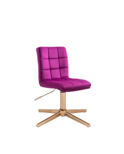 Krzesło do toaletki CAMELIA fuksja - złoty krzyżak