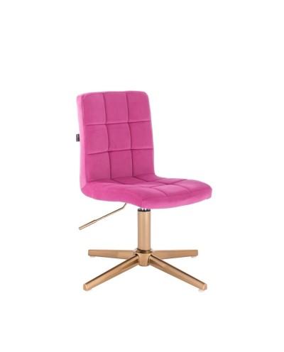 Krzesło do toaletki CAMELIA malinowy welur - złoty krzyżak