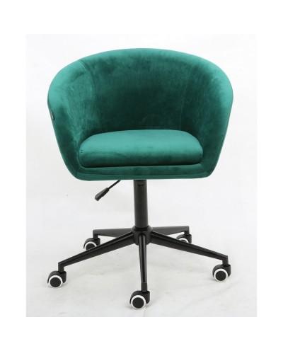 Fotel butelkowa zieleń CASSIE biurowy - czarna podstawa kółka