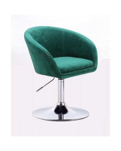 Fotel do salonu CASSIE butelkowa zieleń - dysk chromowany