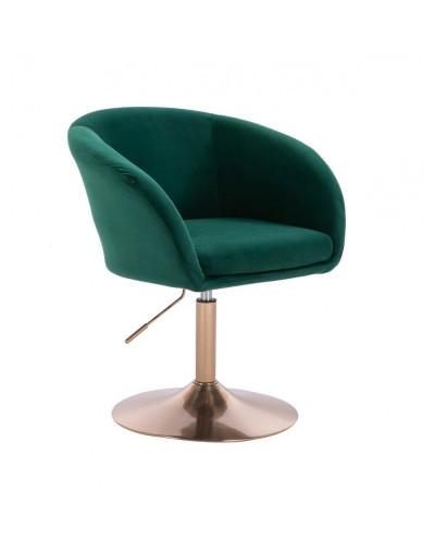 Fotel do salonu CASSIE butelkowa zieleń - złoty dysk
