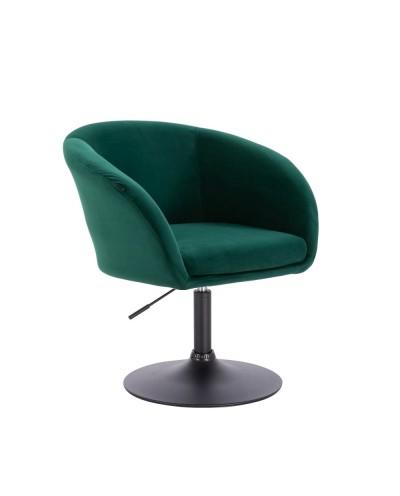 Fotel butelkowa zieleń do salonu CASSIE - dysk czarny