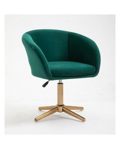 Fotel do pokoju dziennego CASSIE butelkowa zieleń - złoty krzyżak