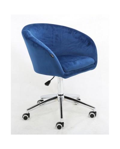Fotel biurowy CASSIE welur ciemne morze - kółka chromowane