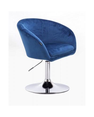 Fotel do salonu CASSIE ciemne morze welur - dysk chromowany