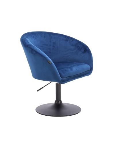 Fotel do salonu CASSIE dysk czarny - welur ciemne morze
