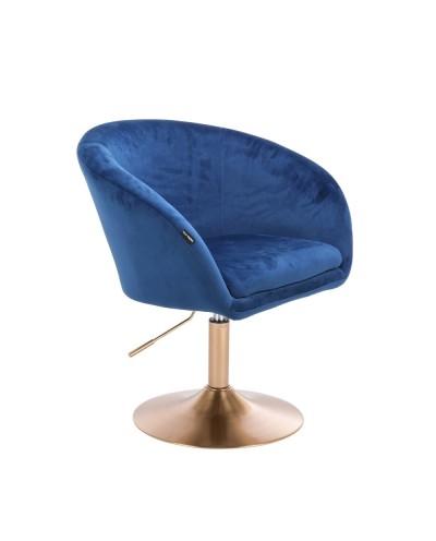Fotel do salonu CASSIE złoty dysk - welur ciemne morze