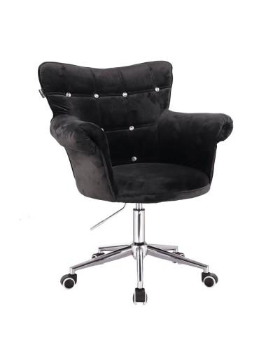 Czarny fotel LORA CRISTAL glamour - kółka chromowane