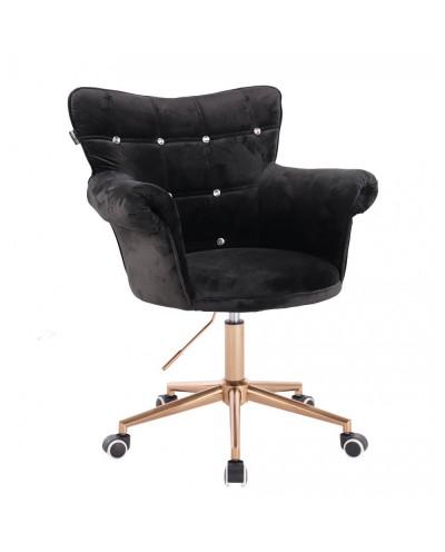 Czarny fotel LORA CRISTAL kryształki - złota podstawa kółka