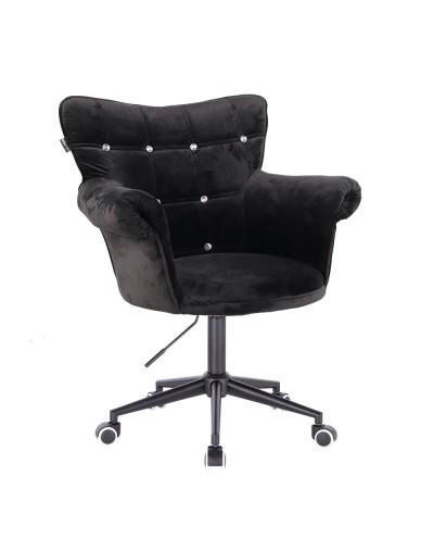 Czarny fotel LORA CRISTAL chesterfield - czarna podstawa kółka