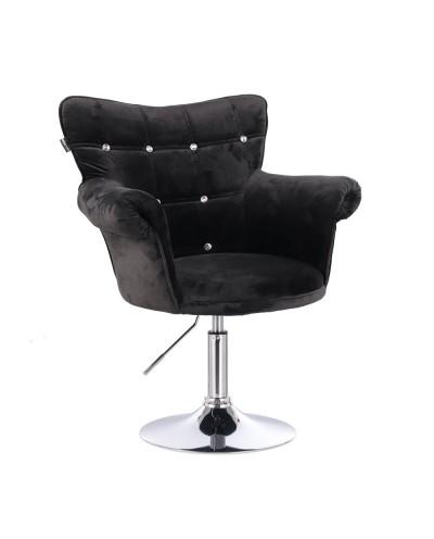 Fotel w stylu chesterfield LORA CRISTAL czarny - dysk chromowany