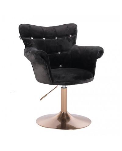 Fotel chesterfield LORA CRISTAL czarny - złoty dysk