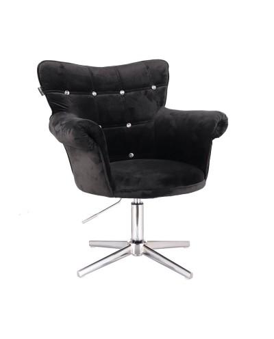 Fotel z kryształkami LORA CRISTAL czarny - krzyżak chromowany