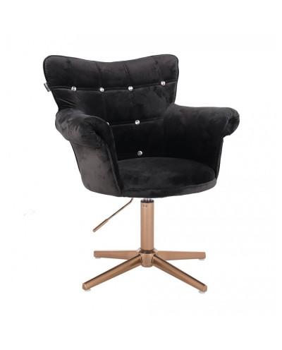 Fotel glamour LORA CRISTAL czarny - złoty krzyżak