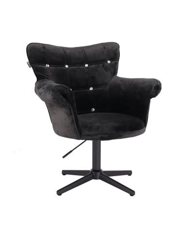 Czarny fotel z kryształkami LORA CRISTAL - czarny krzyżak