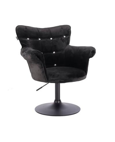 Fotel glamour LORA CRISTAL czarny - czarna podstawa dysk