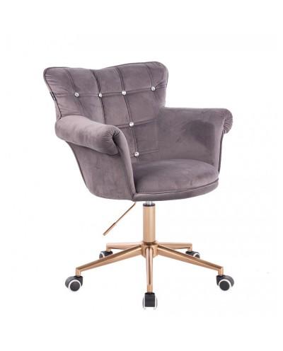 Fotel z kryształkami LORA CRISTAL grafitowy - złota podstawa kółka