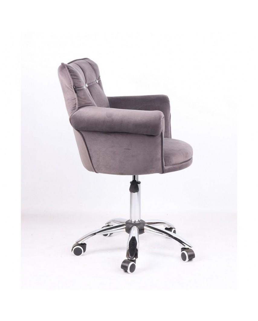 Fotel glamour LORA CRISTAL grafitowy - kółka chromowane
