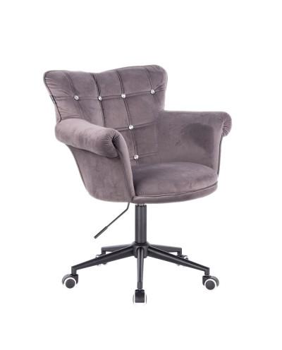 Fotel welur LORA CRISTAL grafitowy - czarne kółka