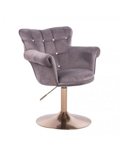 Fotel wypoczynkowy LORA CRISTAL grafitowy - złoty dysk
