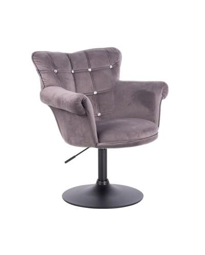 Fotel glamour LORA CRISTAL grafitowy welur - czarny dysk