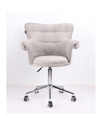 Fotel LORA CRISTAL stalowy welur - kółka chromowane