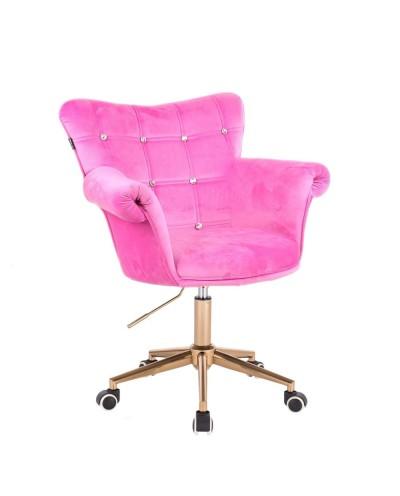 Fotel różowy LORA CRISTAL - złota podstawa kółka