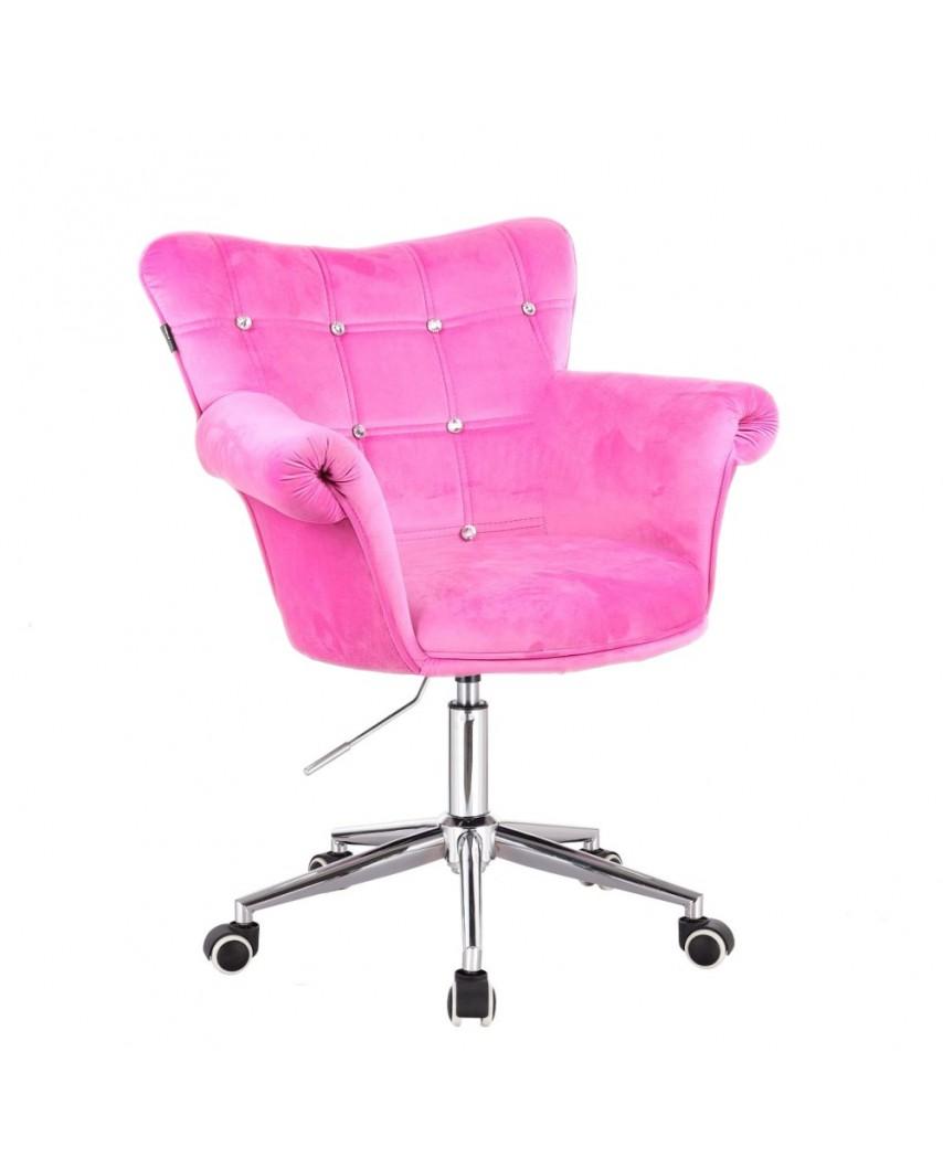 Fotel LORA CRISTAL różowy - kółka chromowane