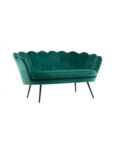 Sofa muszelka ARIA welur butelkowa zieleń - czarne nogi