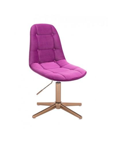 Krzesło do toaletki POPPEA fuksja - złoty krzyżak