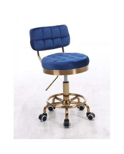 Krzesło do toaletki MAGNUS welur ciemne morze - złoty
