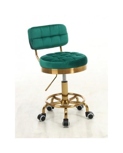 Krzesło do toaletki MAGNUS butelkowa zieleń - złoty