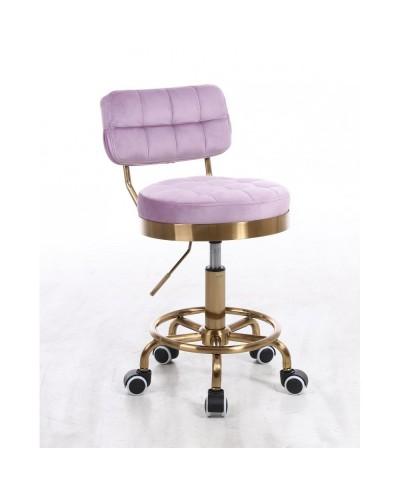 Krzesło do toaletki MAGNUS welur wrzosowy - złoty