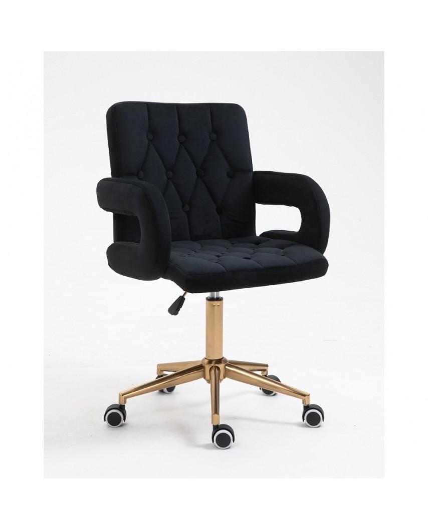 Fotel biurowy SURF BIS czarny welur - kółka złote