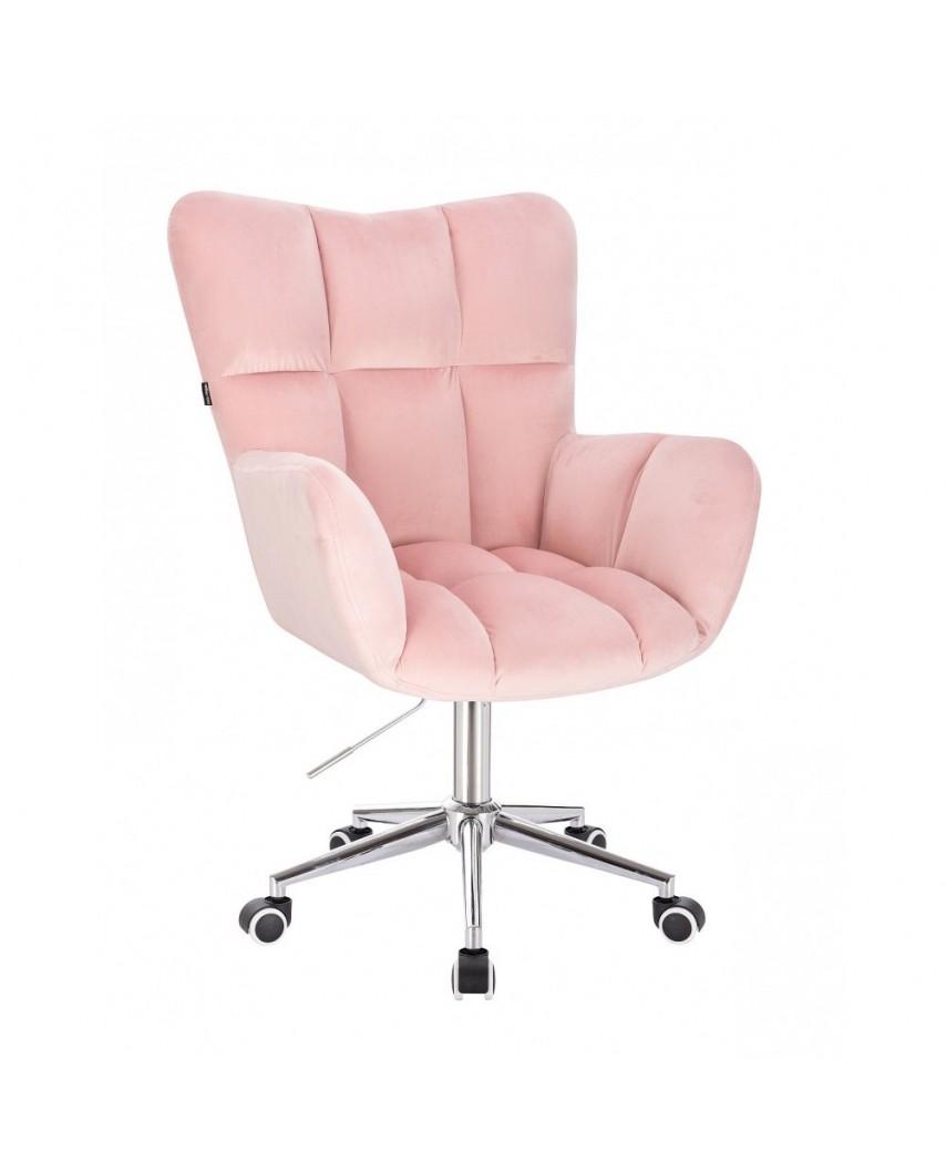 Glamour fotel biurowy na kółkach PEDRO pudrowy róż