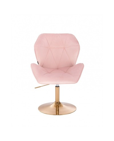 Glamour fotel różowy CRONO pudrowy róż - złoty