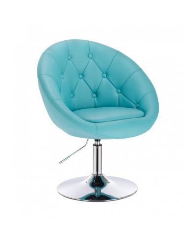 Fotel do toaletki BOL glamour turkusowy - dysk chromowany