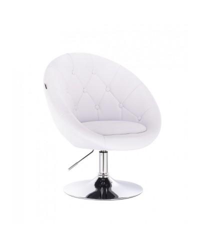 Fotel do toaletki BOL glamour biały - dysk chromowany