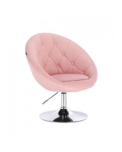 Fotel do toaletki BOL glamour różowy - dysk chromowany