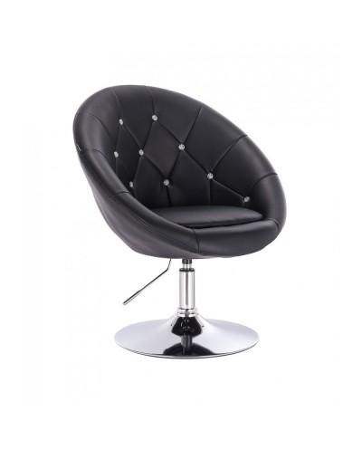 Okrągły fotel czarny BOL CRISTAL do toaletki - dysk chromowany
