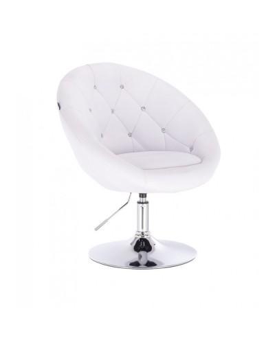Okrągły fotel biały BOL CRISTAL do toaletki - dysk chromowany