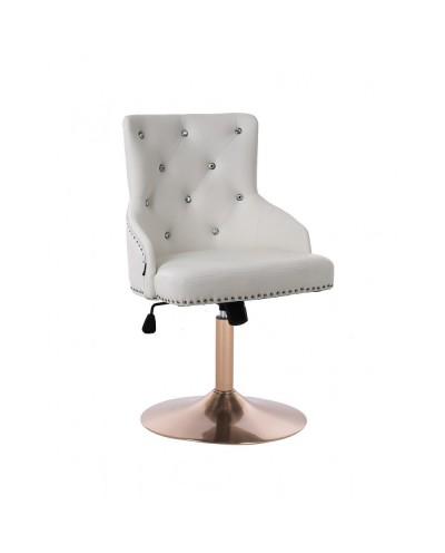 Biały / złoty fotel skóra eko CLARIS CRISTAL ćwieki - dysk