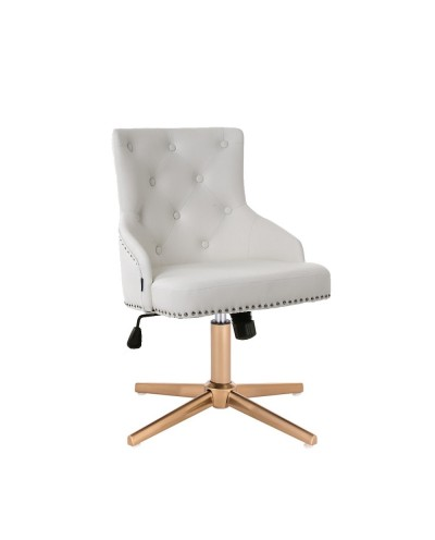 Unikalny fotel na prezent CLARIS biały - złoty cross