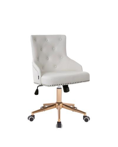 Oryginalny fotel gamingowy biały / złoty CLARIS - złote kółka