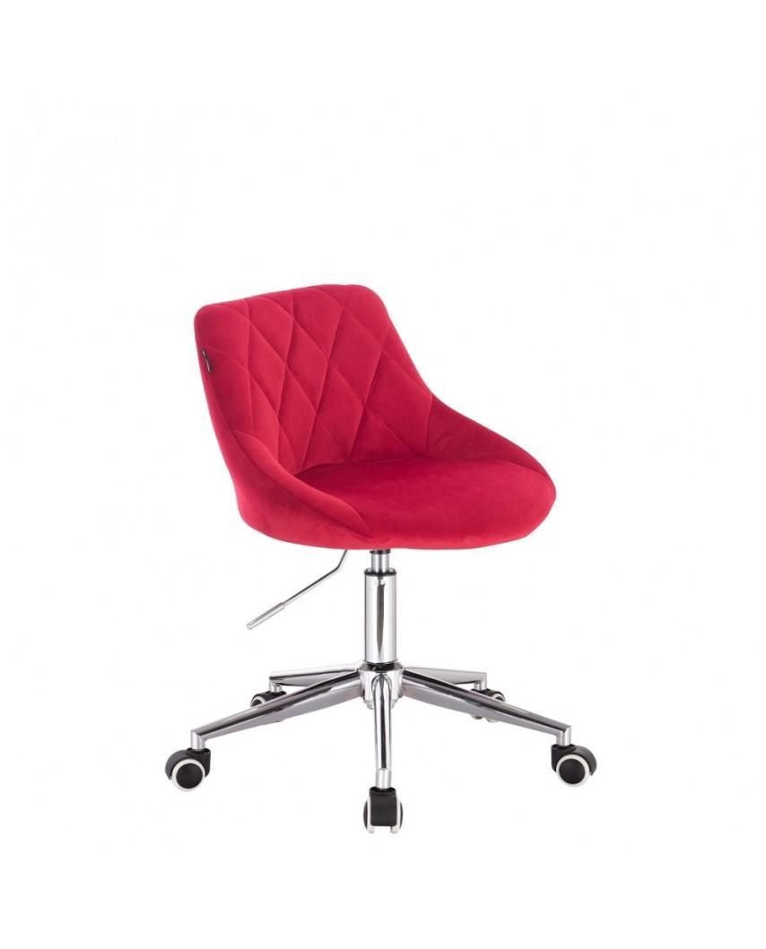 Czerwone krzesło EMILIO welurowe - kółka chrom