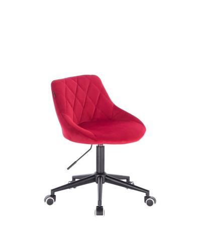 Czerwone krzesło EMILIO welurowe - kółka czarne